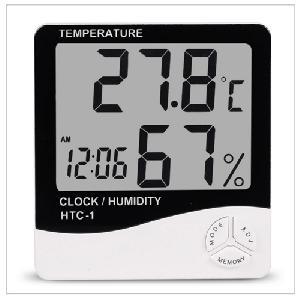 Beltéri LCD időjárás állomás Elektronikus hőmérséklet páratartalom mérő digitális hőmérő higrométer  ébresztőóra HTC-1