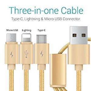 USB töltőkábel 3 az 1 ben ( Type- C, micro USB, IOS gyorstöltő szinkronizáló 1,2 m High speed