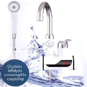 Átfolyós vízmelegítő 3kW teljesítménnyel - LCD kijelzővel -  Zuhanyyal -