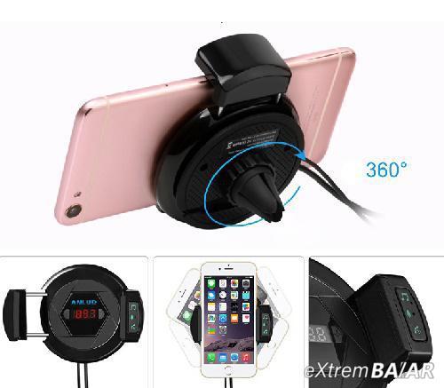 Forgatható autós telefontartó / Bluetooth FM Transzmitter / töltő