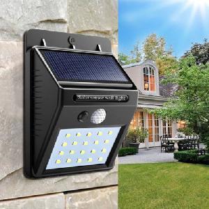 Napelemes vízálló LED fali lámpa mozgásérzékelővel
