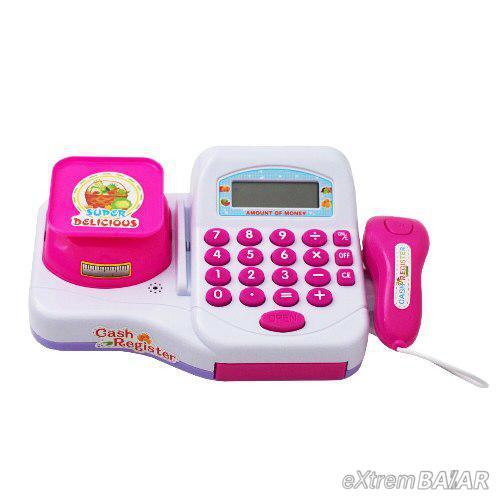 Rózsaszín játék pénztárgép mérleggel és szkennerrel