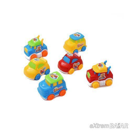 Lendkerekes színes játékautó, 6 darab