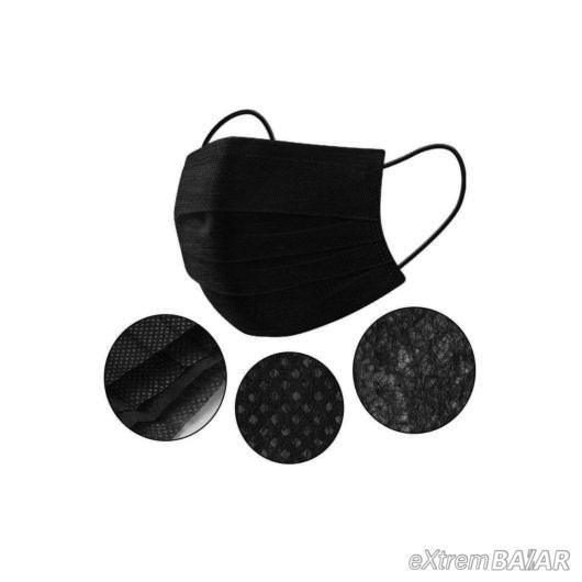 3 Rétegű szájmaszk ( Fekete )  50db/ csomag
