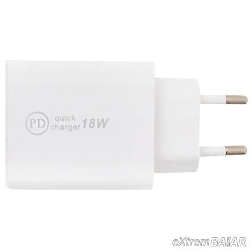 PD hálózati gyorstöltő adapter / átalakító USB és USB-C kimenettel
