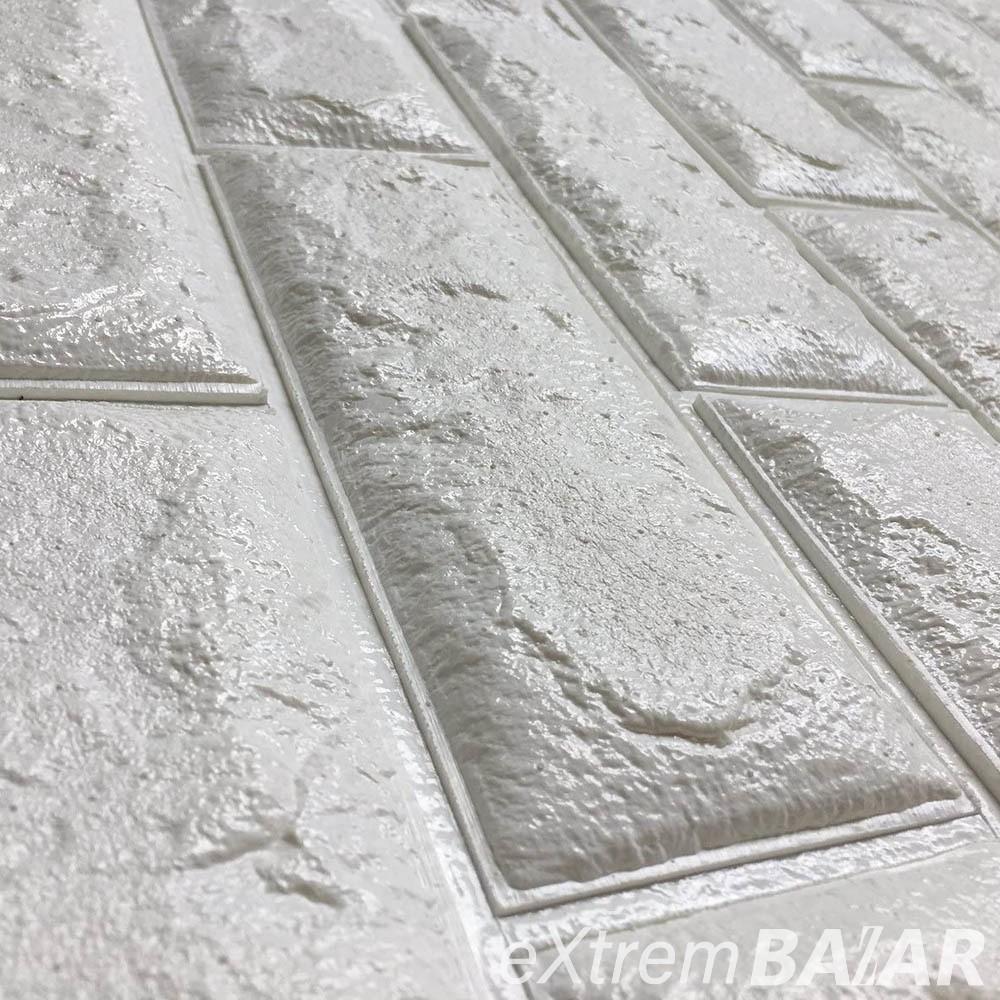 Fehér, 3D-s öntapadós dekor tapéta tégla mintával / falmatrica – 70x77 cm