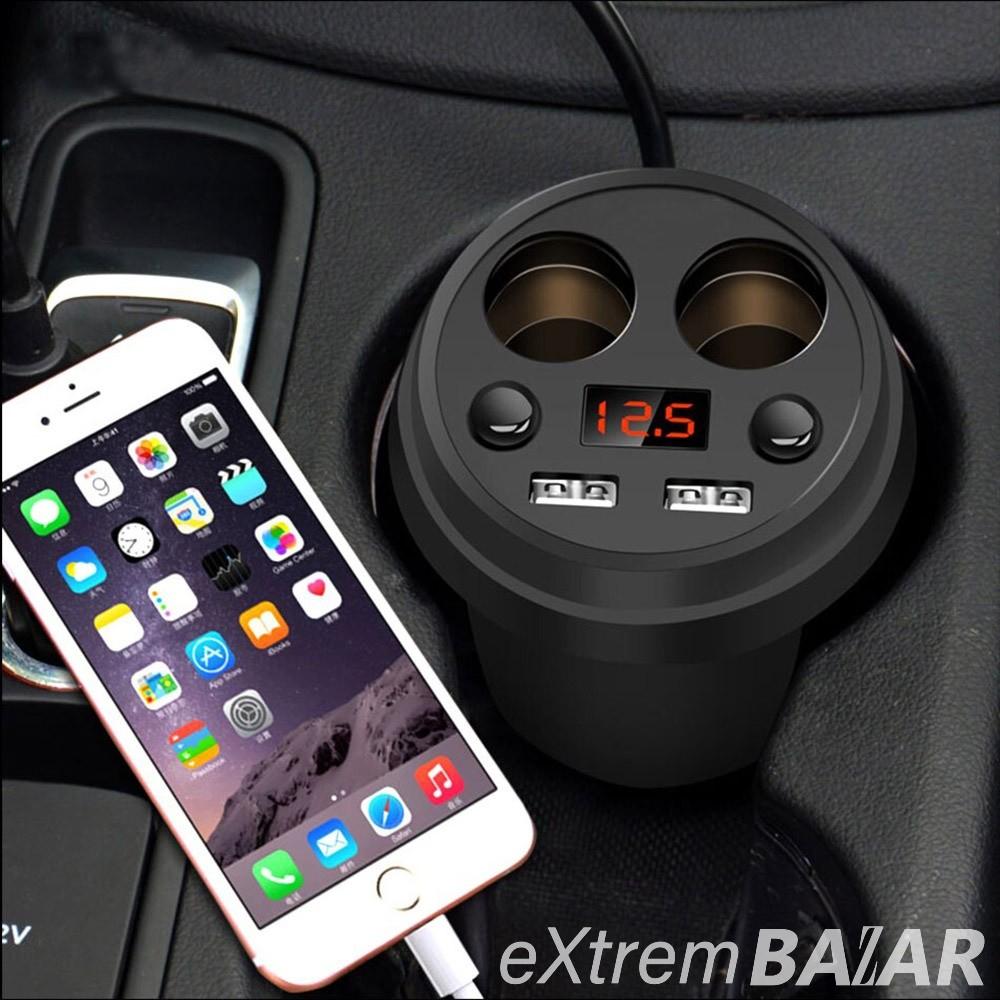 Pohár alakú autós telefontöltő - 2 db USB porttal / 120 W