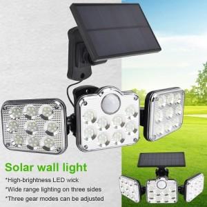 Biztonsági, 122 ledes napelemes fali lámpa, fény- és mozgásérzékelővel, távirányítóval JD-2858