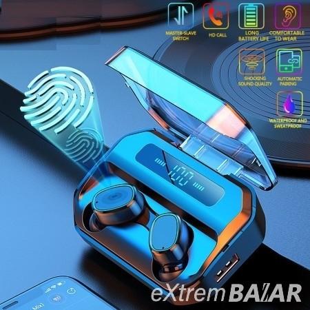 Bluetooth TWS headset kijelzővel / vezeték nélküli fülhallgató tokba épített töltővel KD-M8