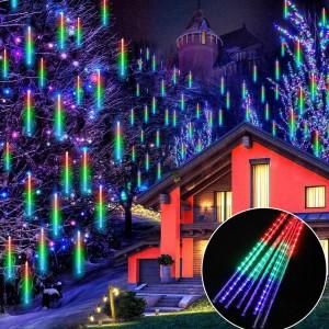 Karácsonyi napelemes meteoreső LED fényfüzér - 50 cm-es, RGB, 288 ledes
