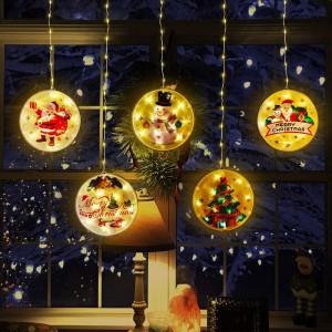 Felakasztható ablakdísz - karácsonyi LED fényfüzér - 113 LED