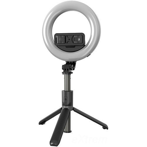 Prémium selfie bot, szelfi fénygyűrű lámpa 19-90 cm 360°-ban forgatható exponáló gombbal világítással L07