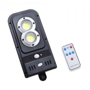 Solar indukciós falilámpa kültérre, mozgásérzékelővel - 2 x extra erős COB LED / távirányítóval vezérelhető