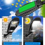 Napelemes LED kültéri mozgásérzékelős fali lámpa távirányítóval 60W W778B