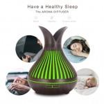 Fa hatású ledes,aromaterápiás párologtató, ultrahangos párásító és illatosító 500ml - távirányítóval